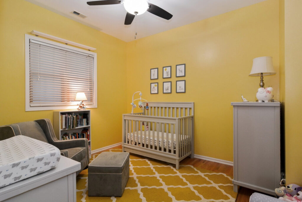 Before photo of office that was a yellow nursery